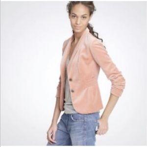 J Crew Eden Velour Blush Orange Velvet Blazer 2